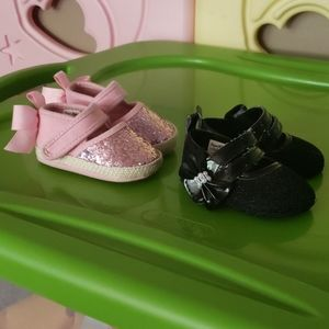 2 Pairs Baby Girl Dressy Shoes 3-6M